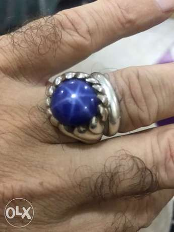 Heavy silver natural star sapphire ring