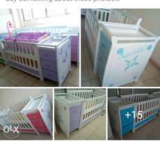 Two level cot with chest draw,kitchen set,car seat,swing,2 in1 rocker