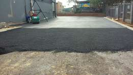 Paving of roads driveways and tennis courts