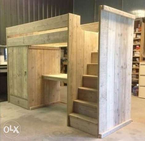 Wood modern bed and closet with stairs rustic handmade تخت خشب أطفال