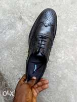 Black leather Brogues men shoe