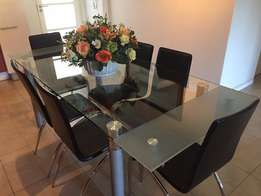 Glass dining table + 6 chairs + FREE coffee table