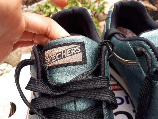 SKECHERS 39 shimmers metaliczne olivka markowe obuwie
