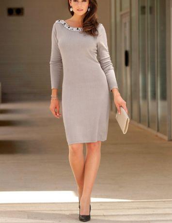 572fae17ae Nowa damski beżowa sukienka dzianina tunika 40 42 L XL perełki Częstochowa  - image 2