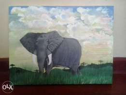 an African elephant in the morning painting