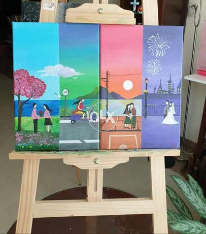 Diptychs painting,Falling in love Canvas Painting. 60cms/20cms