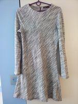 1192fc649c FB śliczna szary melanż trapezowa sukienka dekolt zamek r 38 40 j.nowa