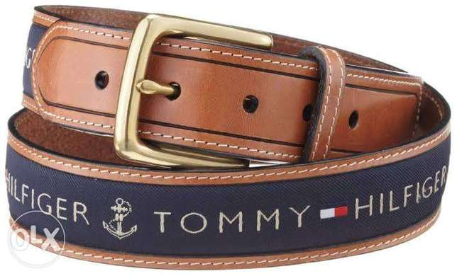 Tommy Hilfiger Navy Blue Leather Belt 36 inch For Men