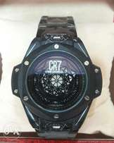 CR7 black chain wristwatch.