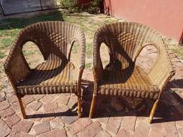 Cane Outdoor Chairs x 2 J 2614/15