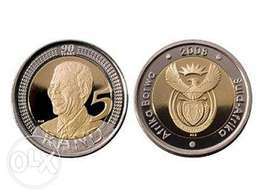 2x 2008 Nelson Mandela R5 coins for sale