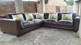 Coricraft Chobe genuine leather beautiful corner lounge suite
