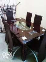 Brand New Glass Dining Set & Six Leather chairs WZ9980