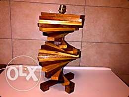 Unique stair case spiral imbuia wooden lamp base .