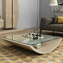 Glass top white coffee table at 244,000