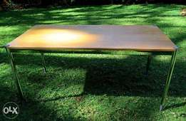Desk / Table Wooden Top inside Metal Frame Heavy Duty with Metal Legs
