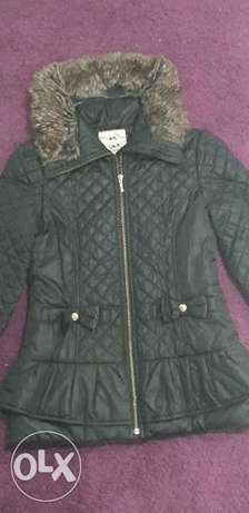 Winter waterproof black coat, 11-12 years