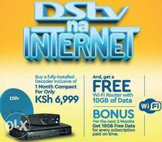 Dstv na internet at 6999/- 30GB free ,comes with one month free