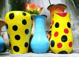 Colourful clay pots