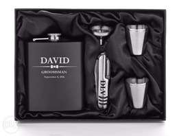 Engraved Personalized Matte Black Flask Funnel Knife Shots