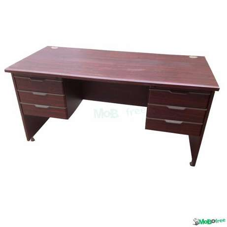 2 x 1 meter Solid Mahogany Table & Leather Insert Walmer Est - image 1