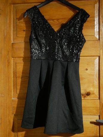 Sukienka Atmosphere czarna z cekinami rozm. 38 Ochotnica