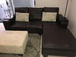 Genuine Leather L shaped couch, 2 seater material couch and ottoman