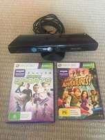 Xbox 360 kinect sensor with 1 game kinect adventures included