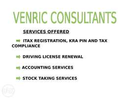 We do Tax returns,company registration,renewal of driving license