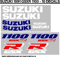 1991 Suzuki GSXR 1100 decals sticker kits