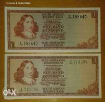 Set of 2 uncirculated 1970's R1 n0tes
