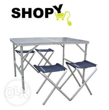 King Camp outdoor table and four folding chairs