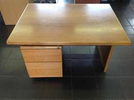Oak Study Desk with Pedestal