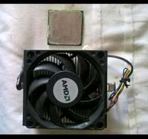 AMD dual core CPU plus heatsink and fan