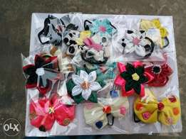 Hair kanzashi flowers, scrunchies and bow