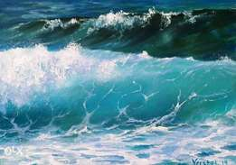 Green wave art oil painting
