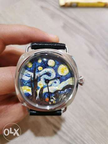 Hand made watch, painted dial