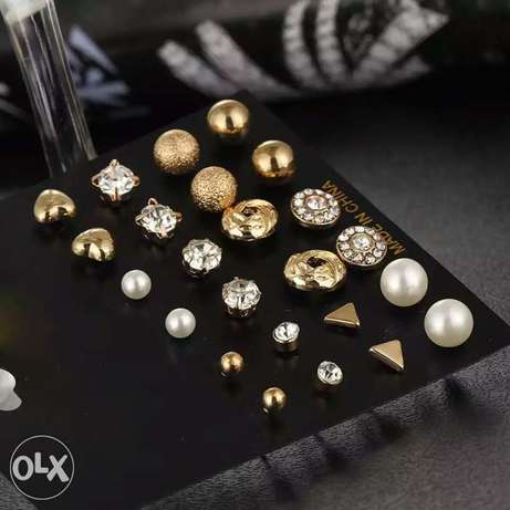 12 Pcs/Set Crystal Alloy Round Ball Gold Color Stud Earrings Vintage Lagos Mainland - image 2