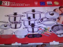 21pc stainless cookware set.