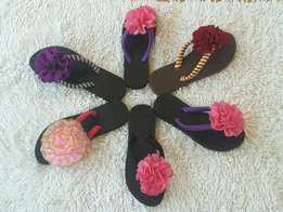 Slippers with flowery designs