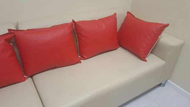 L-SHAPE cream Pleather couch Lansdowne - image 3