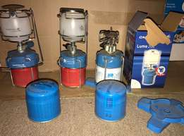 gas camping lamps x2 and cooker for sale