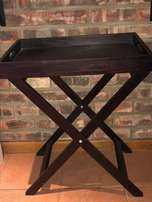 Dark Brown Varnished Serving Tray-Stand