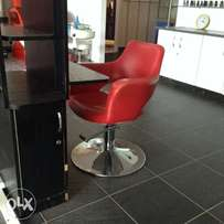 Red chairs for stylists