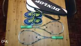 Squash rackets and shoes