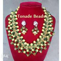 Beaded Yellow and Green Necklace