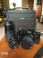 Ricoh film camera with 3 lenses and bag