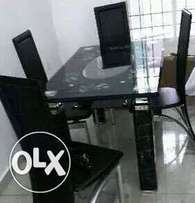 Q4 four sitter glass dining set table and chairs (new)