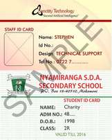 Plastic Staff/Students ID cards at 60/-