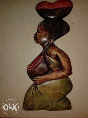 wooden carved african lady wall mountable